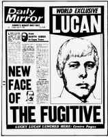 Mirror Front Page 1976. Daily Mirror Front Page - Lord Lucan living in South Africa.