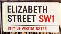 Elizabeth Street Sign London November 1999 where Lord Lucan lived in flat at Number 72a.